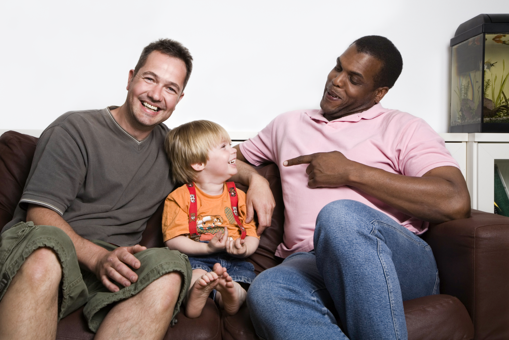 male couple with son